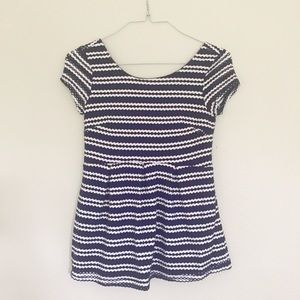 Eight Sixty Navy and White Striped Peplum Top